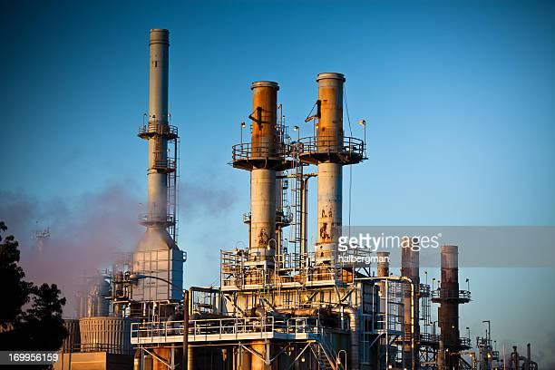 Oil Refinery Smoke Stacks and Distillation Towers