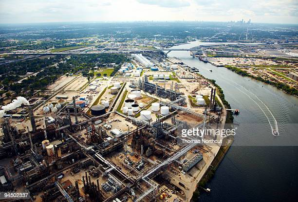Oil Refinery with view to downtown Houston