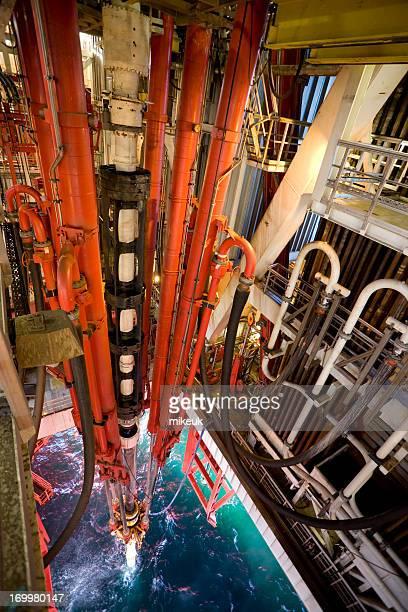 海上で石油掘削装置