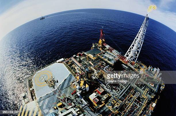 Oil rig, North Sea, Scotland (fish-eye)