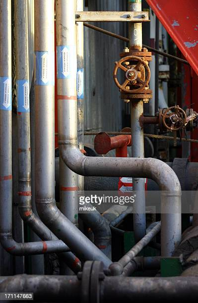 oil rig pipes and valves