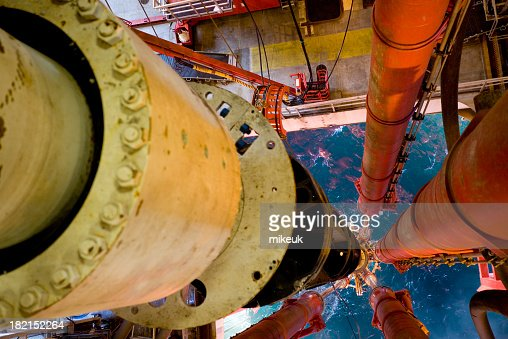 oil rig riser view to sea