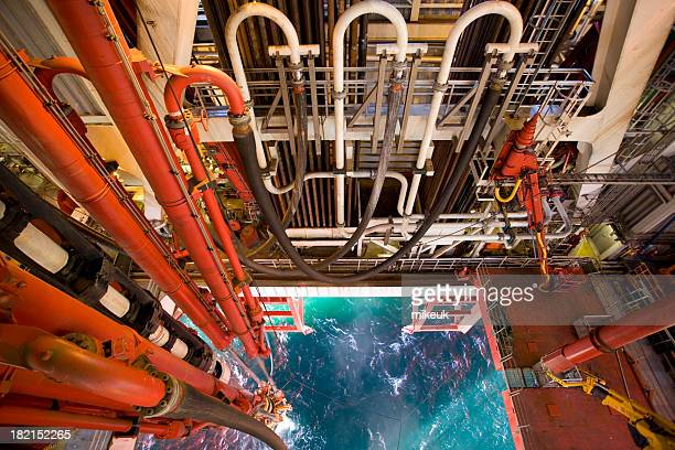 oil rig platform riser pipe view to sea