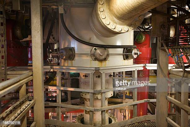 oil rig view riser pipes and flow line