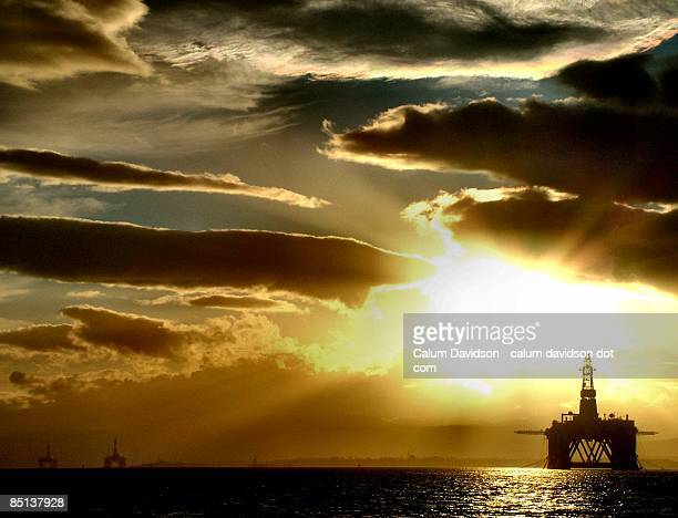 Oil Rigs in the evening sun