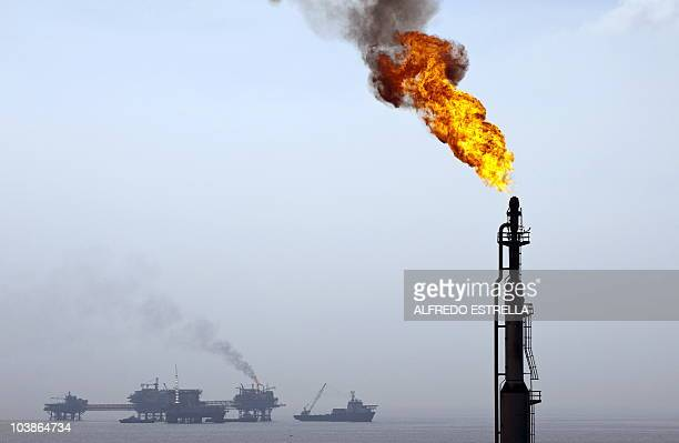 Oil rigs seen from the Pemex KuS oil processing center part of the KuMaloob Zaap complex in the Gulf of Mexico off Ciudad del Carmen Campeche state...