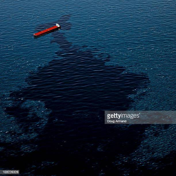 Oil slick at sea
