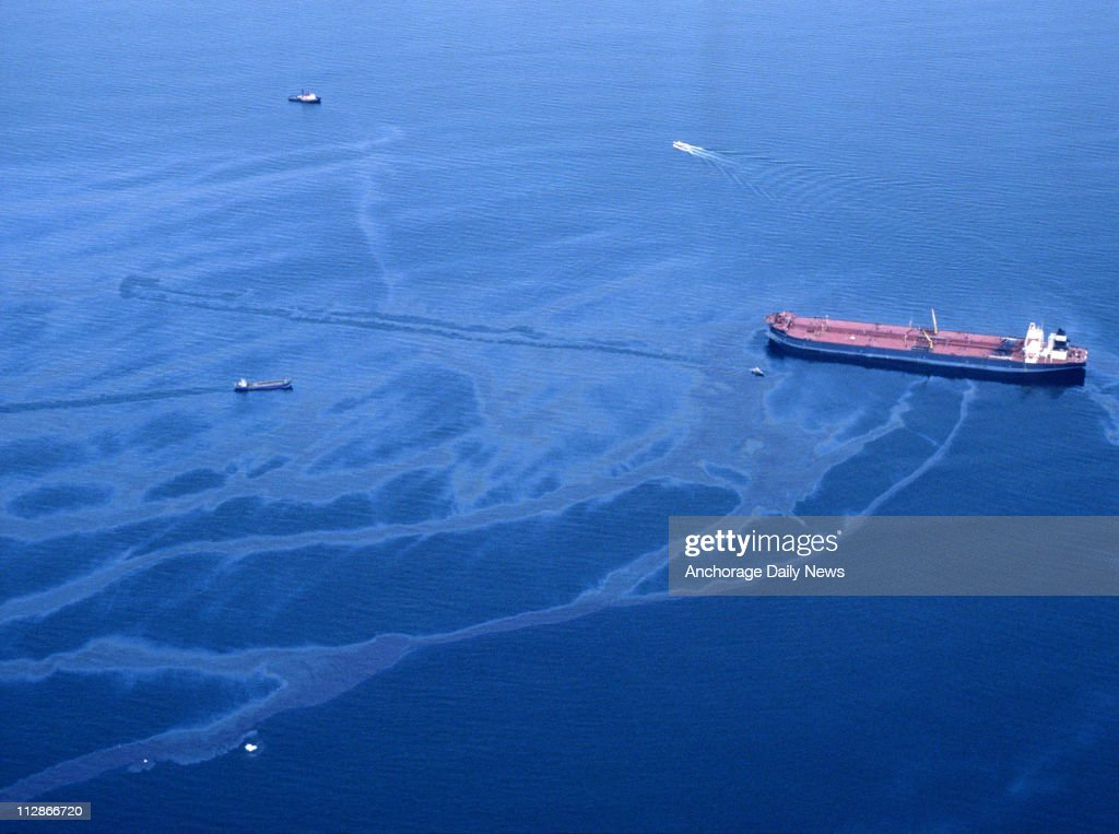 Oil spills from the crippled tanker Exxon Valdez the morning of March 24, 1989, after the vessel ran aground on Bligh Reef in Prince William Sound.