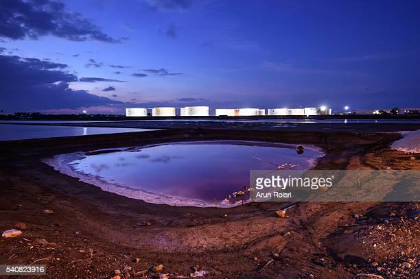 Oil storage tanks area in Gulf of Thailand sea coast.