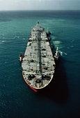 Oil tanker at sea, aerial view