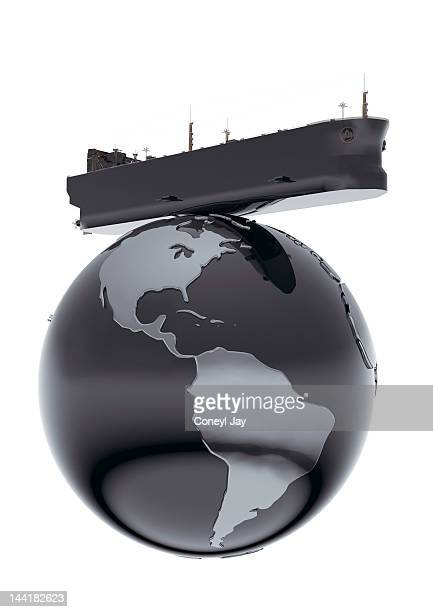 CGI oil tanker on globe with crude oil texture