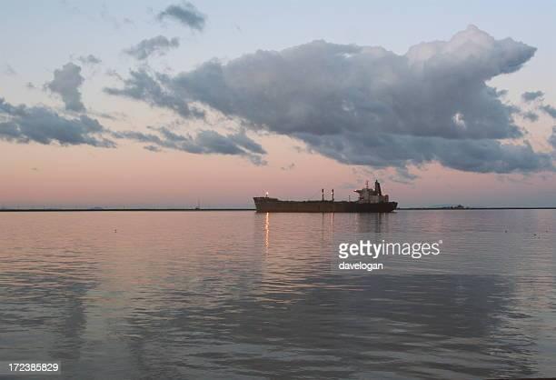 Oil Tanker Sitting At Sunset