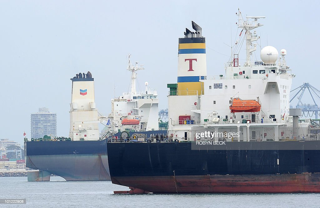 Oil tankers are visible during the launc