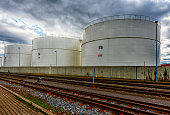 Oil tanks at industrial area