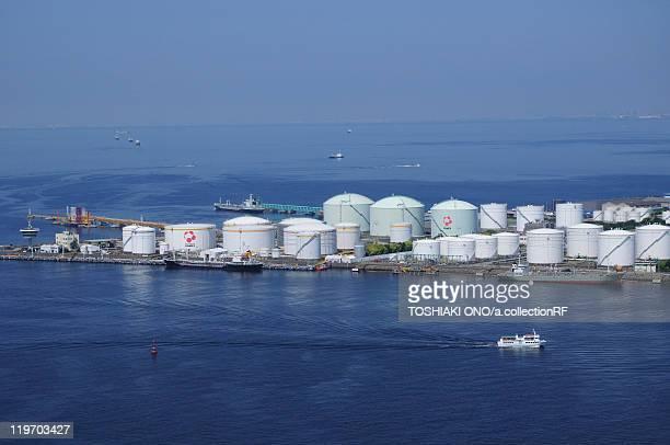 Oil tanks in Chiba harbor, Chiba City, Honshu, Japan