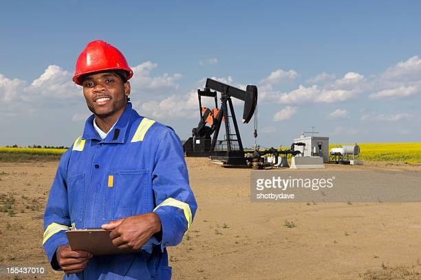 Oil Worker and Clipboard