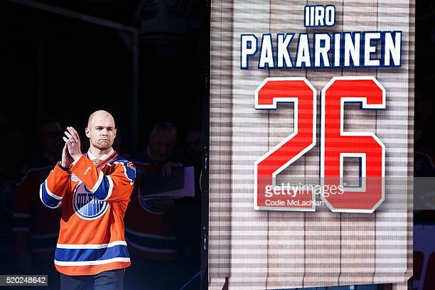 Oilers forward Iiro Pakarinen introduced during the closing ceremonies at Rexall Place following the game between the Edmonton Oilers and the...
