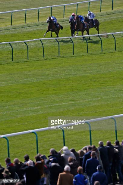 Oisin Murphy riding Beat The Bank win The EBF Stallions bet365 Conditions Stakes at Newmarket Racecourse on April 18 2017 in Newmarket England