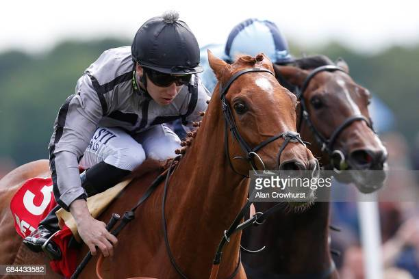 Oisin Murphy riding Blond Me win The Betfred Middleton Stakes from The Black Princess at York racecourse on May 18 2017 in York England