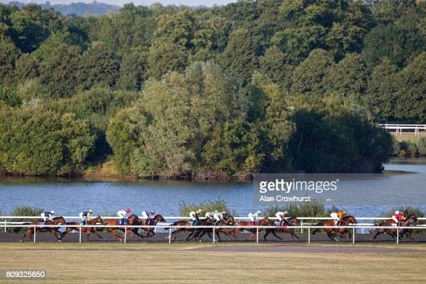 Oisin Murphy riding Erinyes on their way to winning The 100% Profit Boos At 32redsportcom Miden Fillies Stakes at Kempton Park racecourse on July 5...