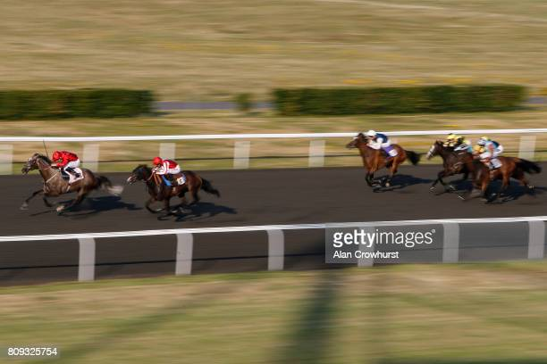 Oisin Murphy riding Erinyes win The 100% Profit Boos At 32redsportcom Miden Fillies Stakes at Kempton Park racecourse on July 5 2017 in Sunbury...