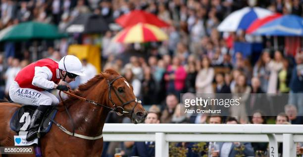 Oisin Murphy riding Just Glamorous win The Hope And Homes For Children Rous Stakes at Ascot racecourse on October 7 2017 in Ascot United Kingdom