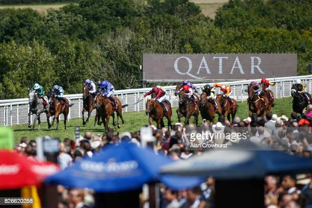 Oisin Murphy riding Scorching Heat win The Qatar Stewards Sprint Handicap Stakes on day five of the Qatar Goodwood Festival at Goodwood racecourse on...
