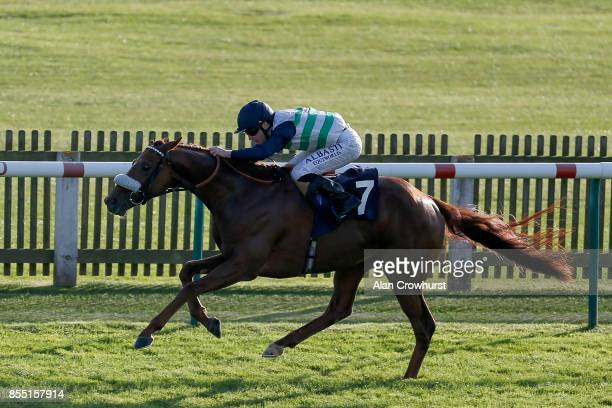 Oisin Murphy riding Torcello win The Weatherbys General Stud Book Online Handicap Stakes at Newmarket racecourse on September 28 2017 in Newmarket...