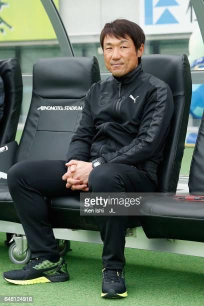 Oita Trinita head coach Tomohiro Katanosaka looks on prior to the JLeague J2 match between Tokyo Verdy and Oita Trinita at Ajinomoto Stadium on March...