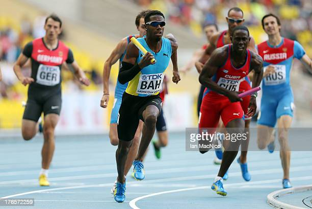 Ojay Ferguson of Bahamas runs the fourthleg of the men's 4 x 400m Relay heats during Day Six of the 14th IAAF World Athletics Championships Moscow...