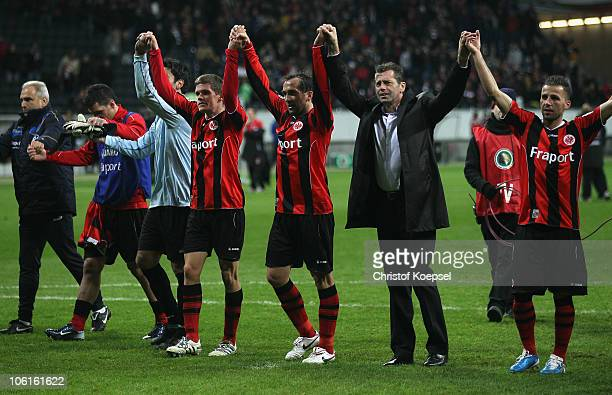 Oka Nikolov Sebastian Jung Theofanis Gekas head coach Michael Skibbe and Benjamin Koehler of Frankfurt celebrate after the DFB Cup match between...