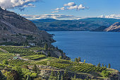 Okanagan Lake near Summerland British Columbia Canada with orchard and vineyard in the Foreground