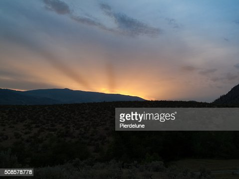 Okanagan valley at sunset : Stock Photo