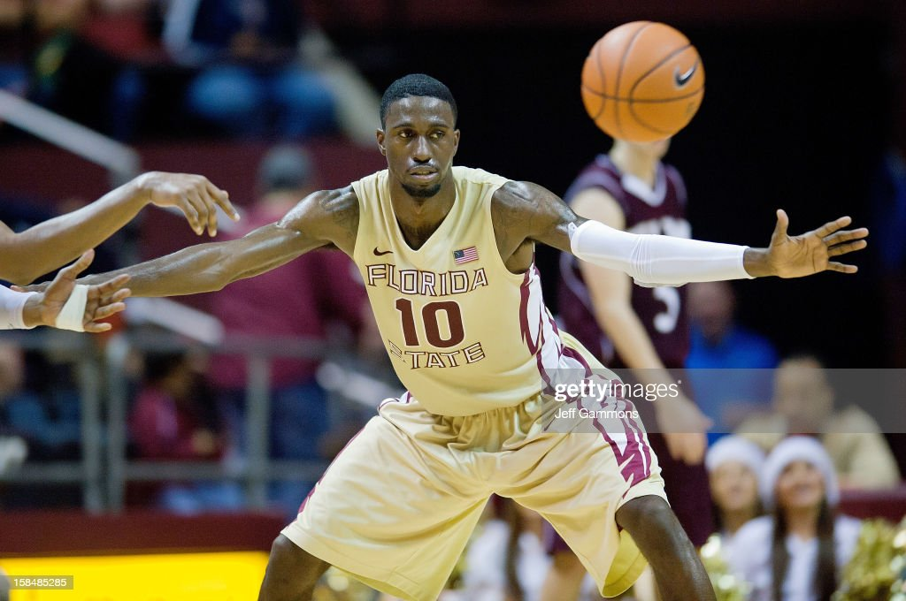 Okaro White #10 of the Florida State Seminoles looks to steal the ball during the game at the Donald L. Tucker Center on December 17, 2012 in Tallahassee, Florida. Florida State won 63-48.