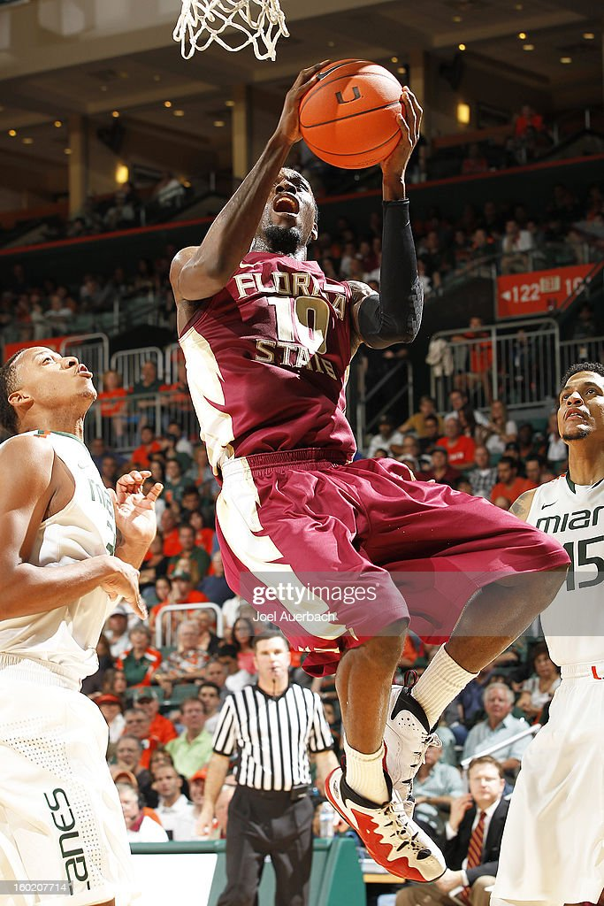 Okaro White #10 of the Florida State Seminoles scores during second half action against the Miami Hurricanes on January 27, 2013 at the BankUnited Center in Coral Gables, Florida. The Hurricanes defeated the Seminoles 71-47.