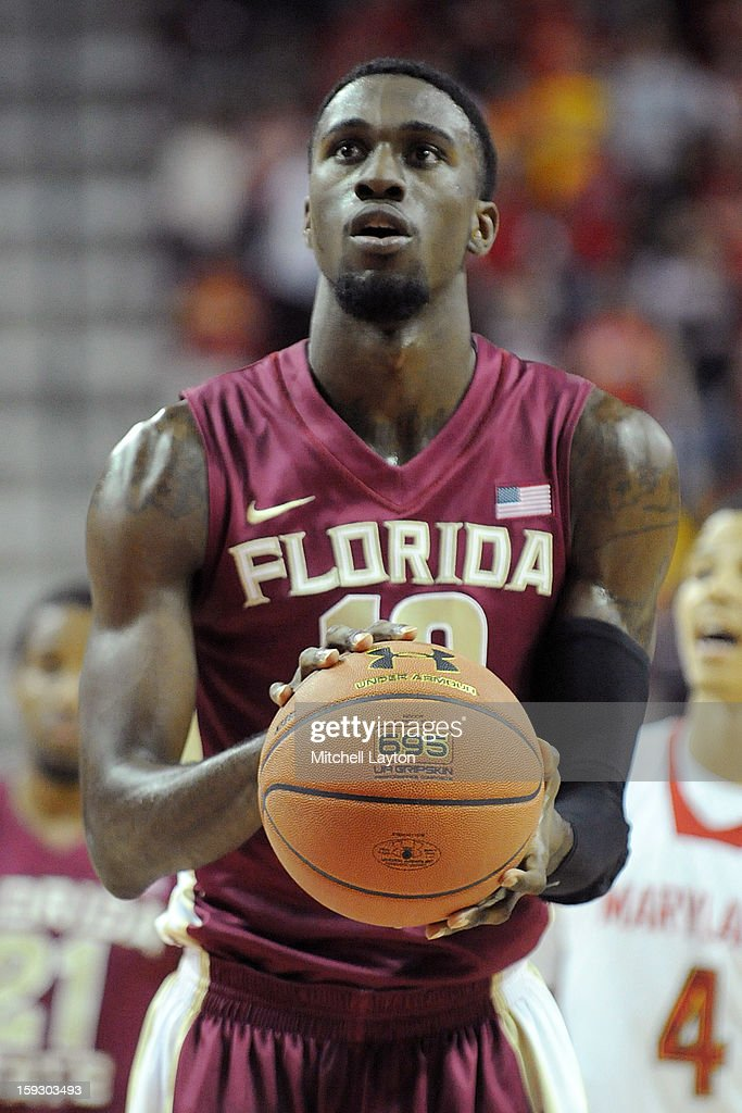 Okaro White #10 of the Florida State Seminoles takes a foul shot during a college basketball game against the Maryland Terrapins on January 9, 2013 at the Comcast Center in College Park, Maryland. The Seminoles won 65-61.