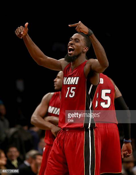 Okaro White of the Miami Heat celebrates the win over the Brooklyn Nets at the Barclays Center on January 25 2017 in the Brooklyn borough of New York...