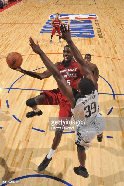 Okaro White of the Miami Heat goes to the basket against the LA Clippers on July 13 2017 at the Thomas Mack Center in Las Vegas Nevada NOTE TO USER...