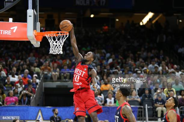 Okaro White of the West goes up for a dunk against the East during the NBA DLeague AllStar Game as part of 2017 AllStar Weekend at the MercedesBenz...