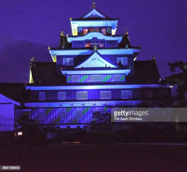 Okayama Castle is illuminated in blue on the World Autism Awareness Day on April 2 2017 in Okayama Japan