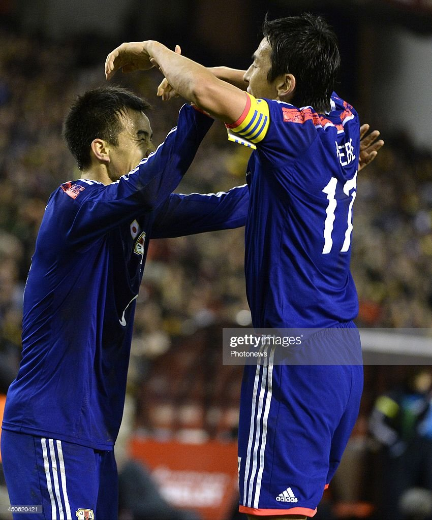 Okazaki of Japan celebrates scoring a goal pictured during the international friendly match before the World Cup in Brasil between Belgium and Japan on November 19, 2013 in Brussels, Belgium