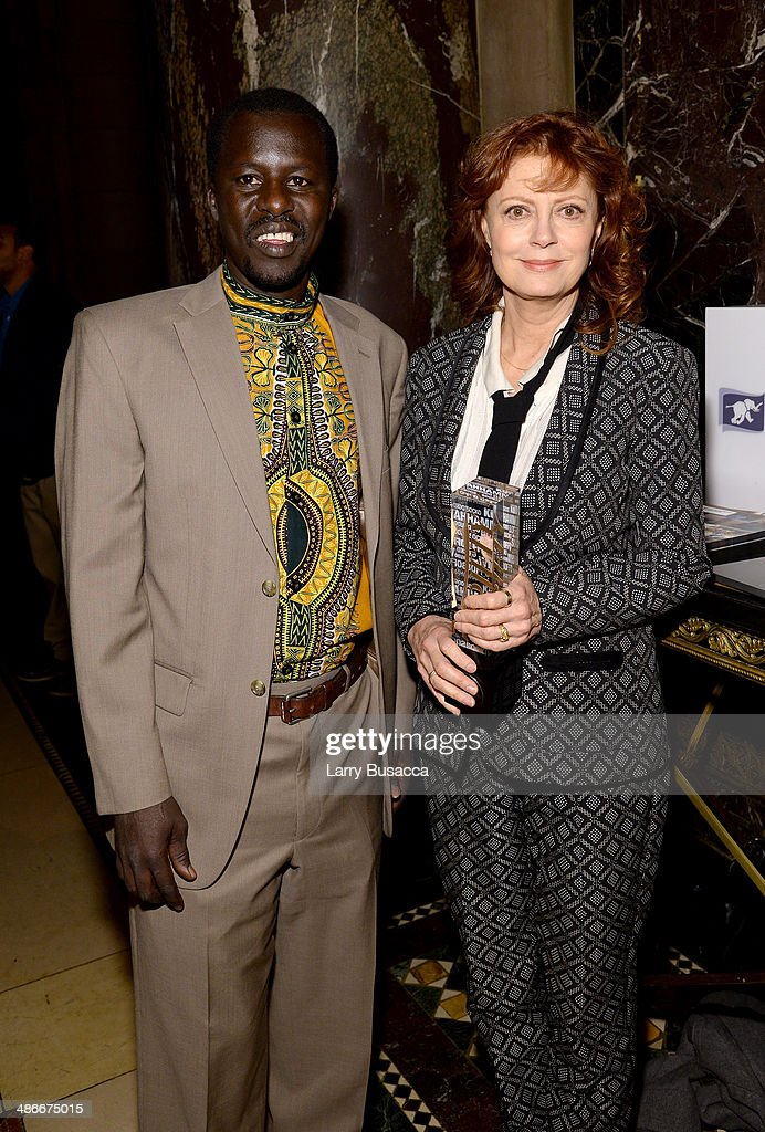 Okello Sam (L) and <a gi-track='captionPersonalityLinkClicked' href=/galleries/search?phrase=Susan+Sarandon&family=editorial&specificpeople=202474 ng-click='$event.stopPropagation()'>Susan Sarandon</a> attend Variety Power Of Women: New York presented by FYI at Cipriani 42nd Street on April 25, 2014 in New York City.