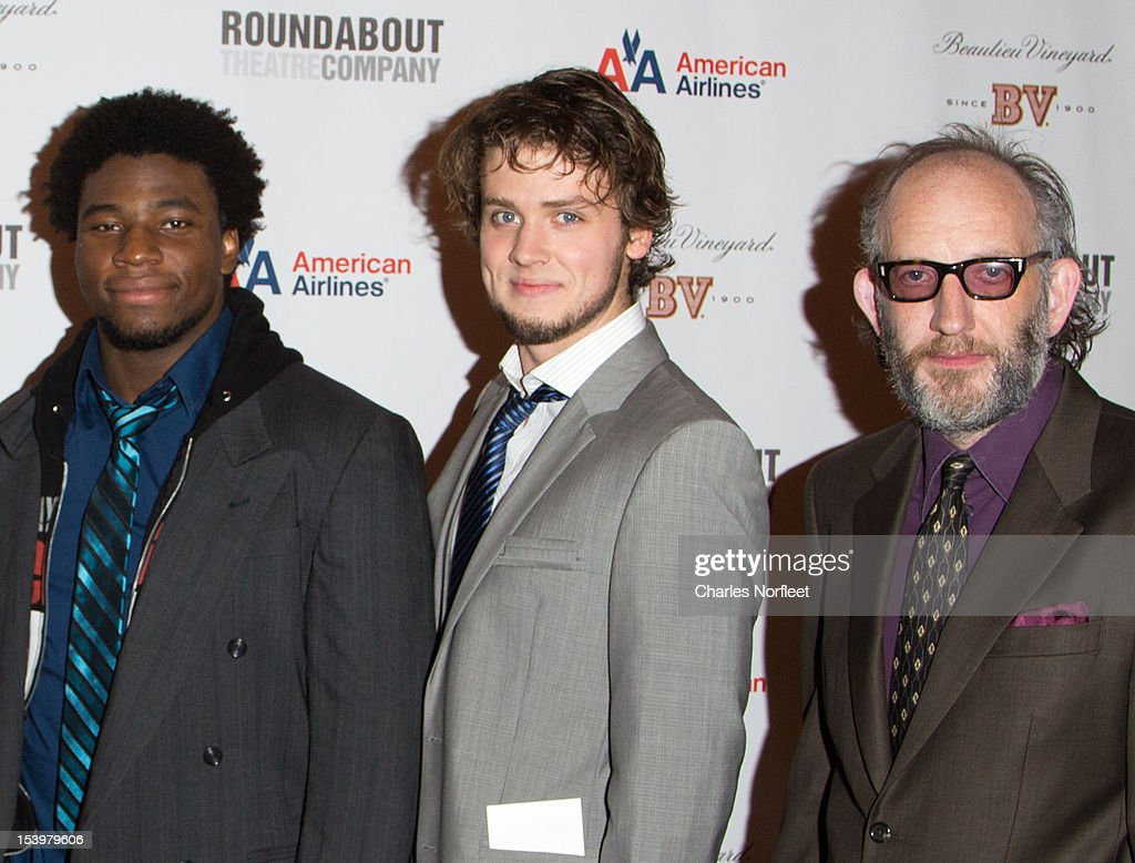 Okieriete Onaodowan, Jack Cutmore-Scott, and Max Baker attend 'Cyrano De Bergerac' Broadway Opening Night After Party at American Airlines Theatre on October 11, 2012 in New York City.