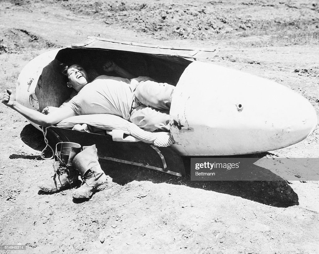 'Hot' Bed The inventive genius of Marine S/Sgt Albert J Magley Maplewood N J devised this crowded but comfortable bed out of a discarded 'belly' tank...
