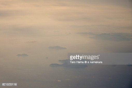 Okinoshima Island in Sukumo city in Kochi prefecture sunset time aerial view from airplane : ストックフォト