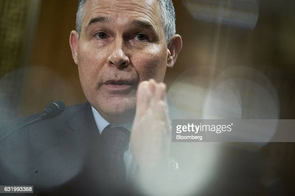 Oklahoma Attorney General Scott Pruitt administrator of the Environmental Protection Agency nominee for US Presidentelect Donald Trump speaks during...
