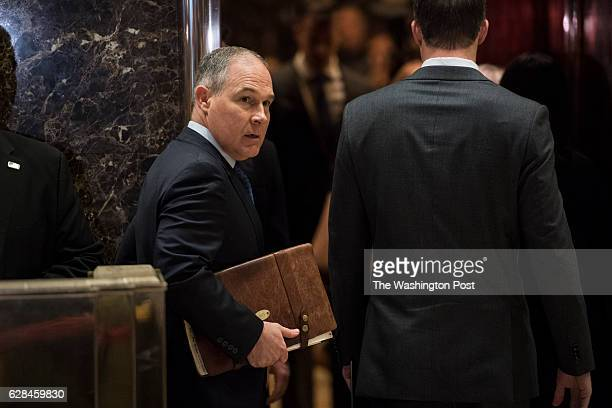 Oklahoma Attorney General Scott Pruitt arrives at Trump Tower in New York NY on Wednesday Dec 07 2016