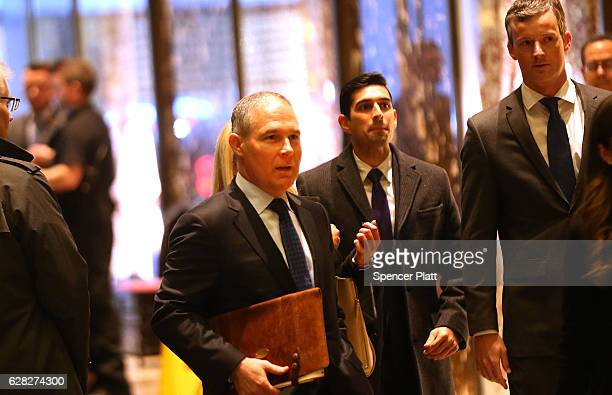 Oklahoma Attorney General Scott Pruitt arrives at Trump Tower on December 7 2016 in New York City Potential members of Presidentelect Donald Trump's...