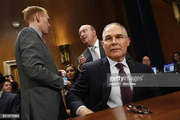 Oklahoma Attorney General Scott Pruitt Presidentelect Donald Trump's choice to head the Environmental Protection Agency arrives for his confirmation...