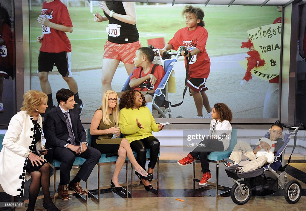 THE VIEW - Oklahoma boy Tobias Bass and his brother, Titus, who has Cerebral Palsy, appeared on 'The View' today, October 2, 2013. Tobias asked his local news station if they could provide his brother with a jogger pusher so he could run a 5K with him. 'The View' airs Monday-Friday (11:00 am-12:00 pm, ET) on the ABC Television Network. BASS